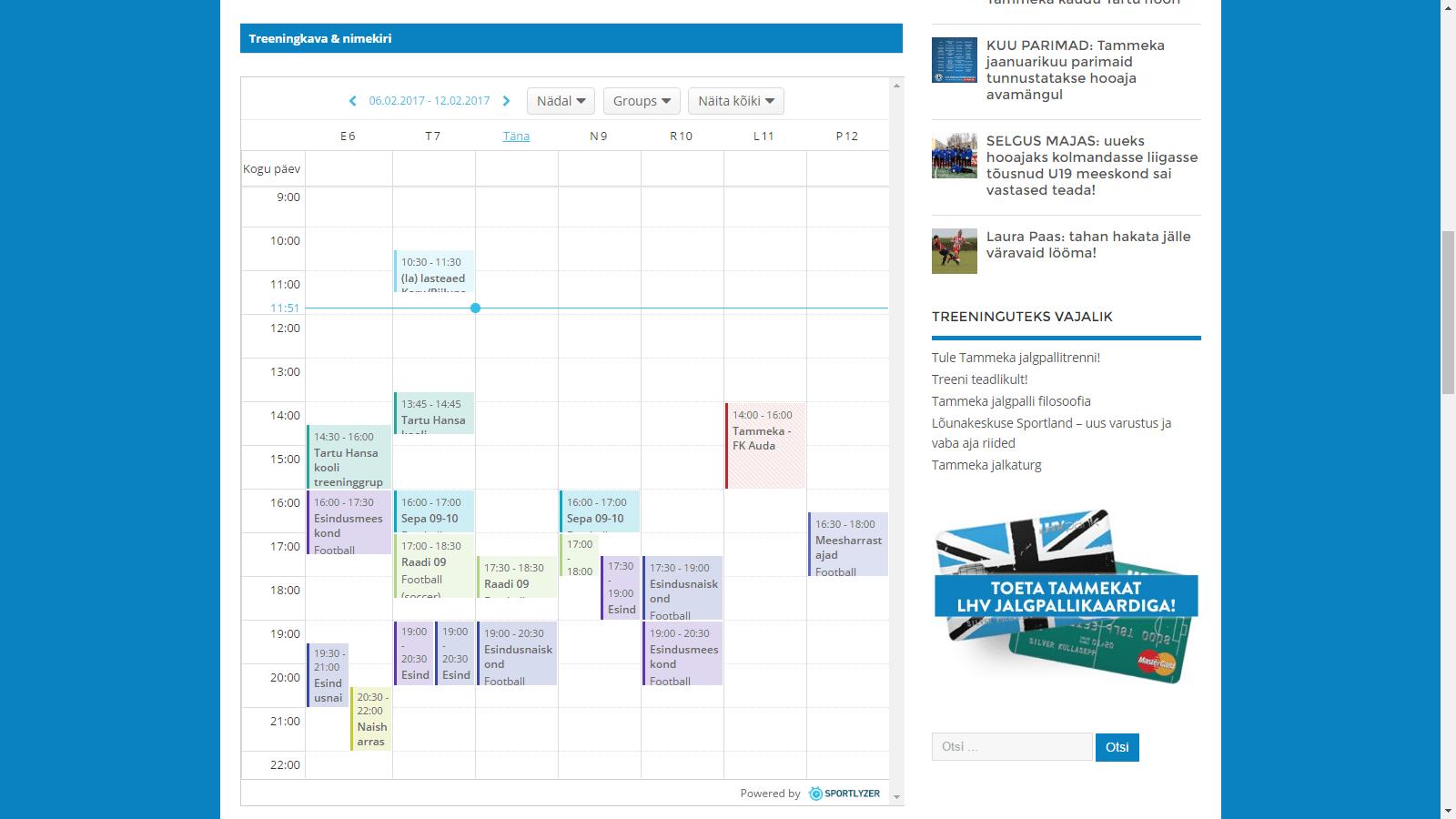 Calendar Web Widget : Manage your sports team with less time sportlyzer